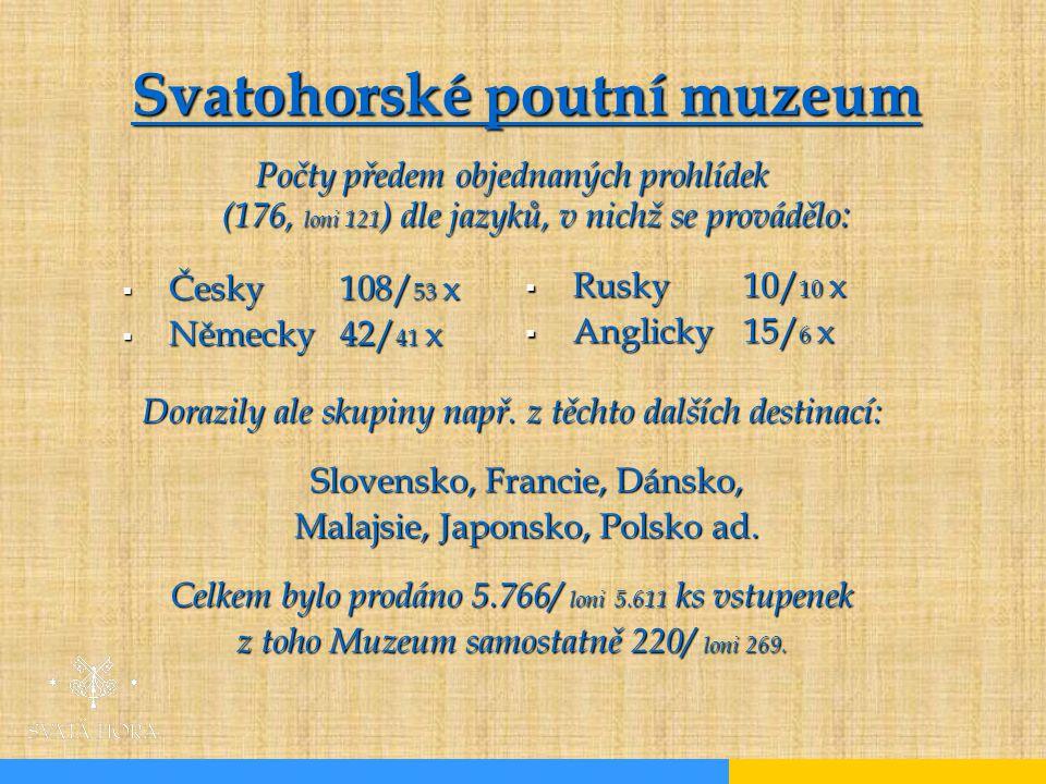  Česky 108/ 53 x  Německy 42/ 41 x Počty předem objednaných prohlídek (176, loni 121 ) dle jazyků, v nichž se provádělo : Dorazily ale skupiny např.
