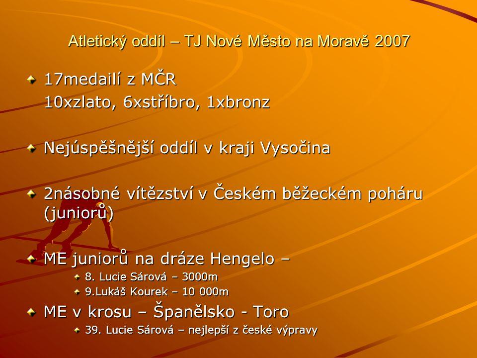 Atletický oddíl – TJ Nové Město na Moravě 2007 17medailí z MČR 10xzlato, 6xstříbro, 1xbronz Nejúspěšnější oddíl v kraji Vysočina 2násobné vítězství v Českém běžeckém poháru (juniorů) ME juniorů na dráze Hengelo – 8.