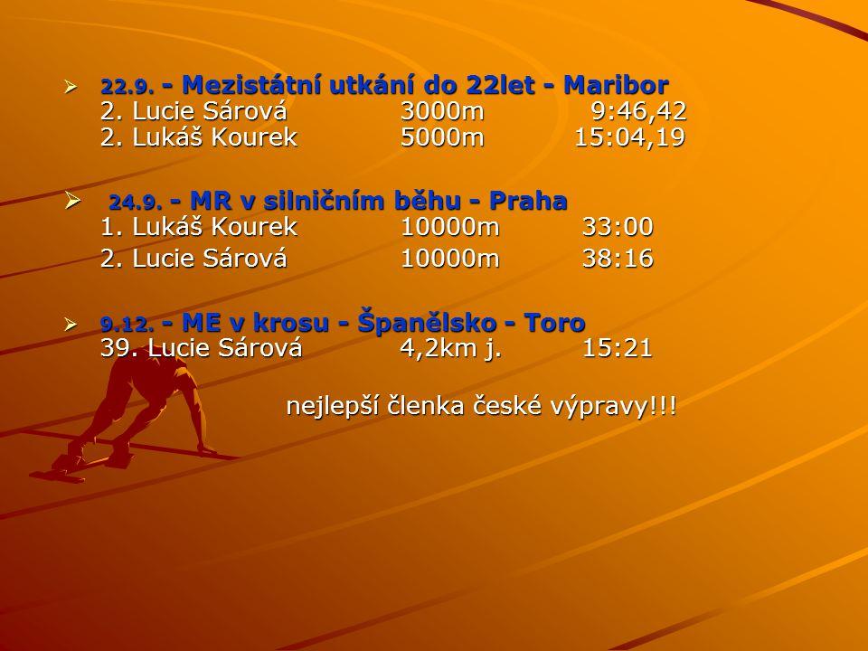  22.9. - Mezistátní utkání do 22let - Maribor 2. Lucie Sárová 3000m 9:46,42 2. Lukáš Kourek 5000m 15:04,19  24.9. - MR v silničním běhu - Praha 1. L