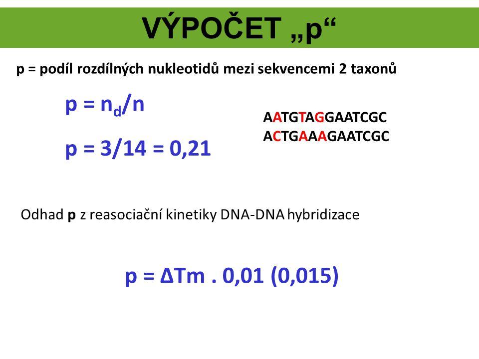 """VÝPOČET """"p"""" p = ΔTm. 0,01 (0,015) p = podíl rozdílných nukleotidů mezi sekvencemi 2 taxonů Odhad p z reasociační kinetiky DNA-DNA hybridizace p = n d"""
