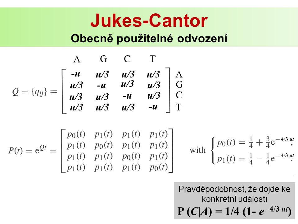 Jukes-Cantor Obecně použitelné odvození 4/3 ut u/3 -u u/3 -u u/3 -u A G Pravděpodobnost, že dojde ke konkrétní události P (C|A) = 1/4 (1- e -4/3 ut )