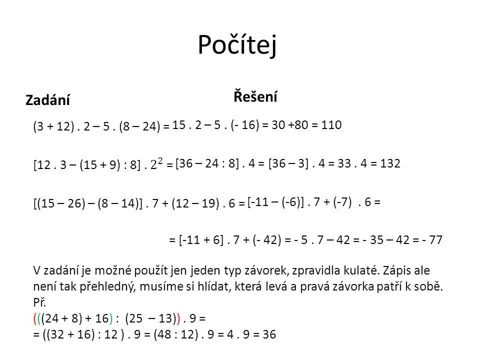 Počítej Zadání Řešení 15. 2 – 5. (- 16) = 30 +80 = 110 [36 – 24 : 8]. 4 = [36 – 3]. 4 = 33. 4 = 132 [-11 – (-6)]. 7 + (-7). 6 = = [-11 + 6]. 7 + (- 42