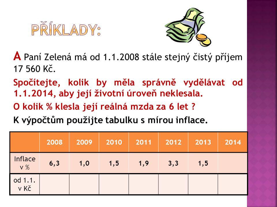 A Paní Zelená má od 1.1.2008 stále stejný čistý příjem 17 560 Kč.