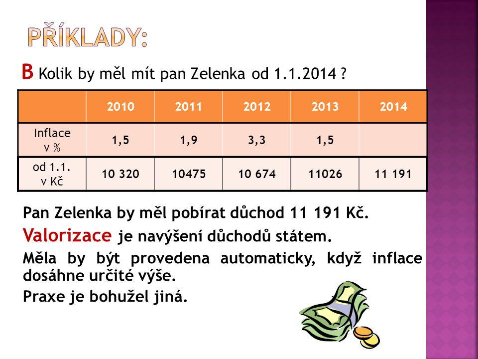 B Kolik by měl mít pan Zelenka od 1.1.2014 . 20102011201220132014 Inflace v % 1,51,93,31,5 od 1.1.