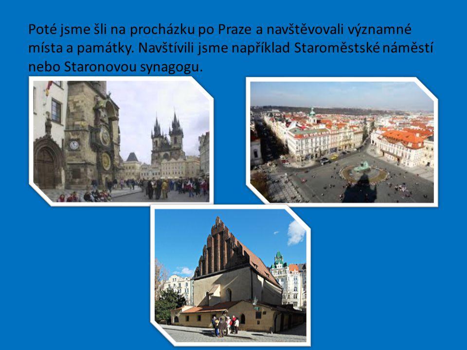 Poté jsme šli na procházku po Praze a navštěvovali významné místa a památky. Navštívili jsme například Staroměstské náměstí nebo Staronovou synagogu.