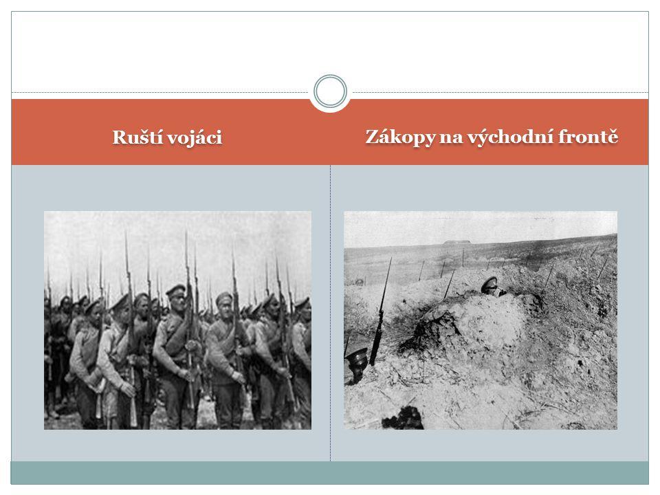 Ruští vojáci Zákopy na východní frontě