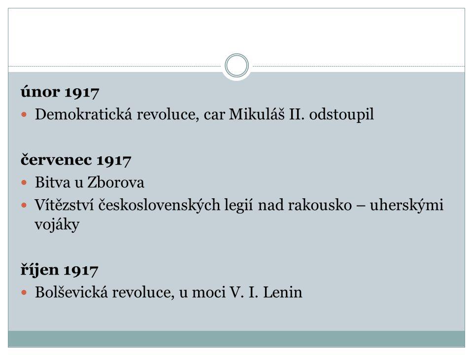 únor 1917 Demokratická revoluce, car Mikuláš II.