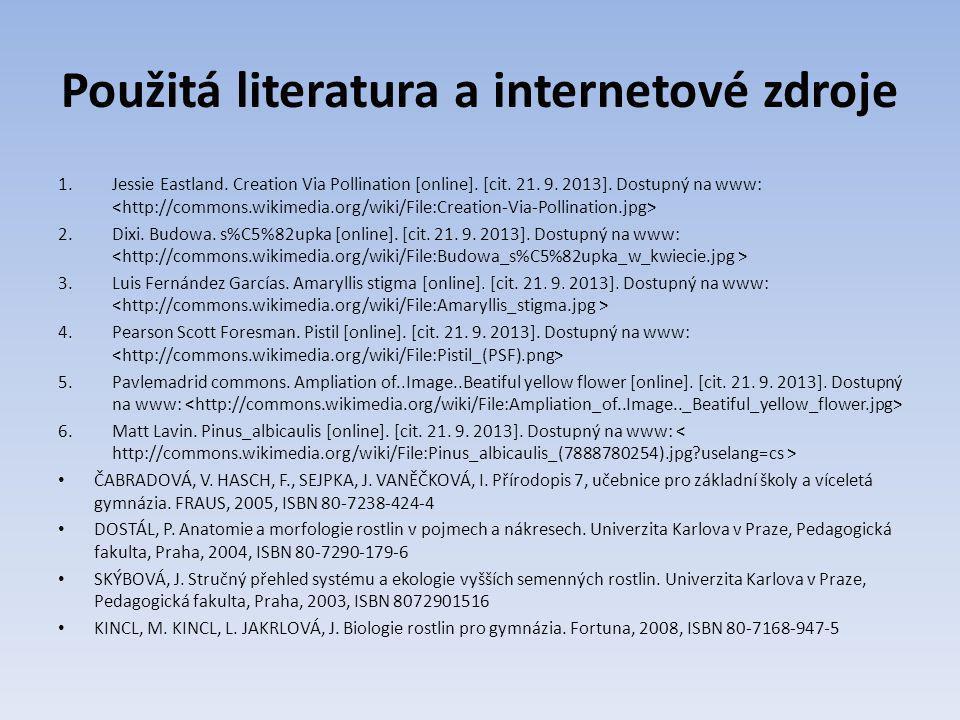 Použitá literatura a internetové zdroje 1.Jessie Eastland.