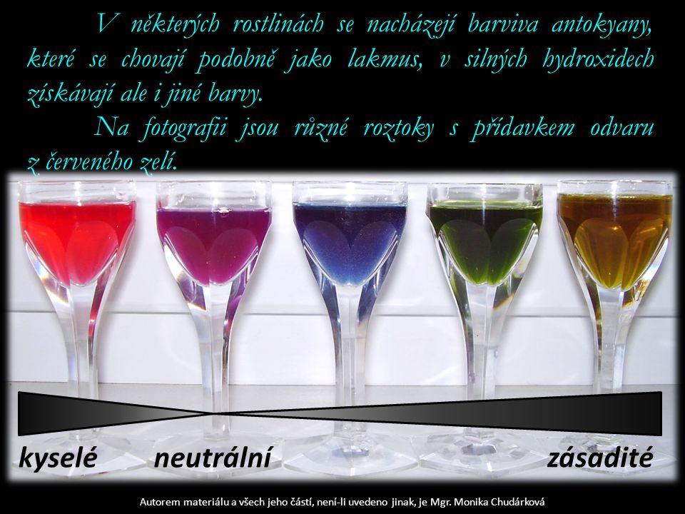 Autorem materiálu a všech jeho částí, není-li uvedeno jinak, je Mgr. Monika Chudárková V některých rostlinách se nacházejí barviva antokyany, které se