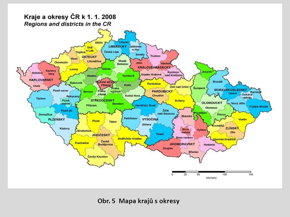 Obr. 5 Mapa krajů s okresy