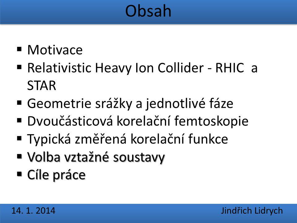 Obsah 14. 1. 2014 Jindřich Lidrych  Motivace  Relativistic Heavy Ion Collider - RHIC a STAR  Geometrie srážky a jednotlivé fáze  Dvoučásticová kor