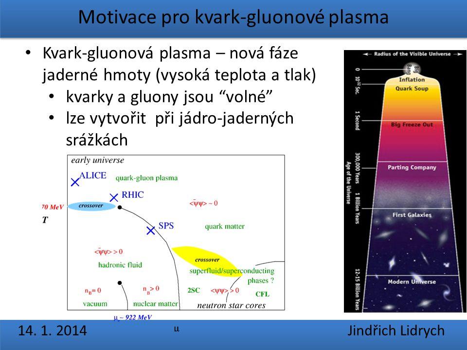 Motivace pro kvark-gluonové plasma 14. 1. 2014 Jindřich Lidrych Kvark-gluonová plasma – nová fáze jaderné hmoty (vysoká teplota a tlak) kvarky a gluon