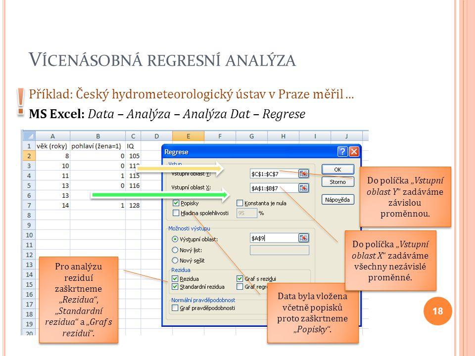 V ÍCENÁSOBNÁ REGRESNÍ ANALÝZA Příklad: Český hydrometeorologický ústav v Praze měřil... MS Excel: Data – Analýza – Analýza Dat – Regrese 18 Do políčka
