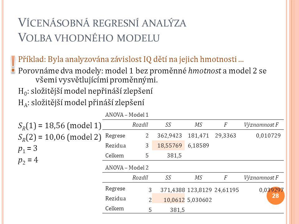 V ÍCENÁSOBNÁ REGRESNÍ ANALÝZA V OLBA VHODNÉHO MODELU Příklad: Byla analyzována závislost IQ dětí na jejich hmotnosti... Porovnáme dva modely: model 1