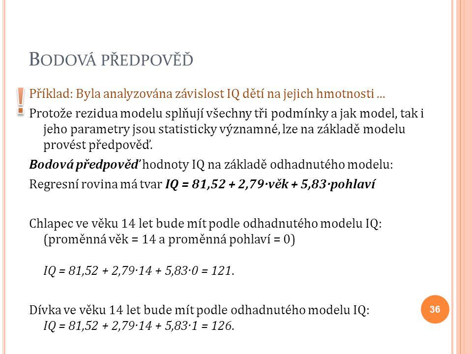 B ODOVÁ PŘEDPOVĚĎ Příklad: Byla analyzována závislost IQ dětí na jejich hmotnosti... Protože rezidua modelu splňují všechny tři podmínky a jak model,