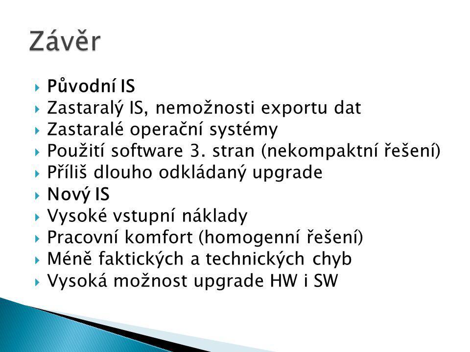  Původní IS  Zastaralý IS, nemožnosti exportu dat  Zastaralé operační systémy  Použití software 3.