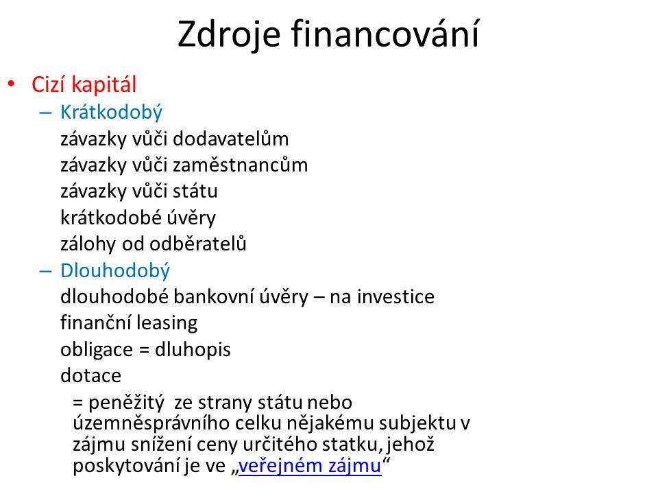 Zdroje financování Cizí kapitál – Krátkodobý závazky vůči dodavatelům závazky vůči zaměstnancům závazky vůči státu krátkodobé úvěry zálohy od odběrate