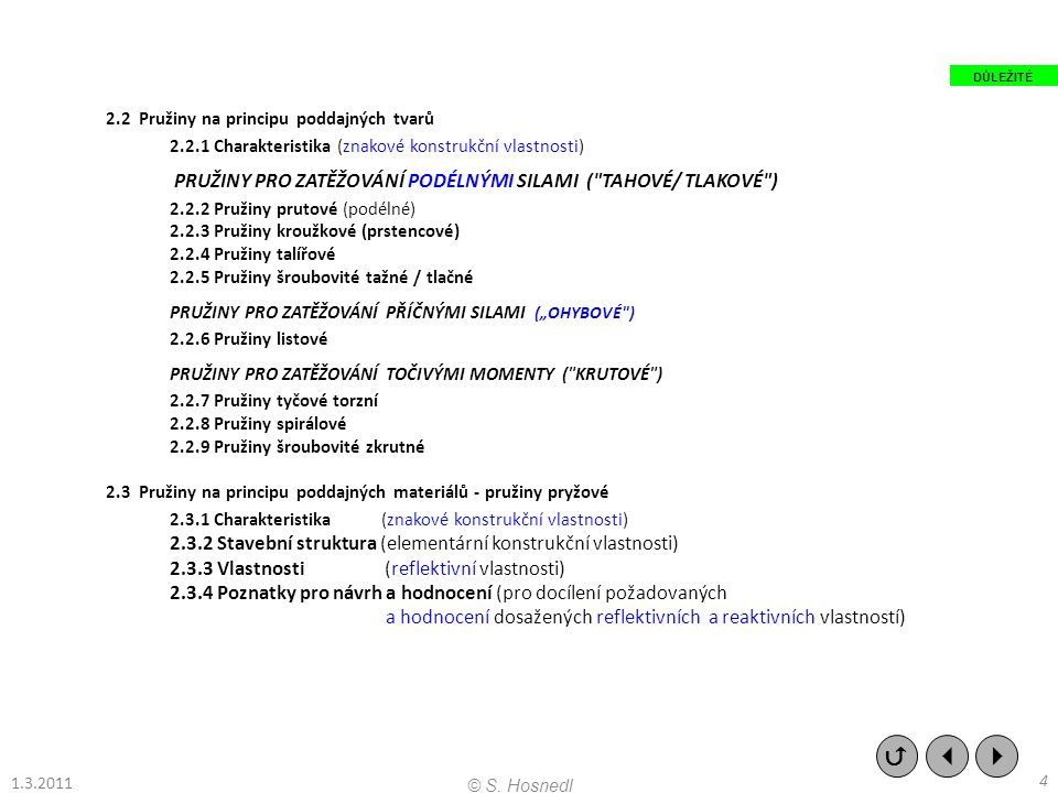 """2.2 Pružiny na principu poddajných tvarů 2.2.1 Charakteristika (znakové konstrukční vlastnosti) PRUŽINY PRO ZATĚŽOVÁNÍ PODÉLNÝMI SILAMI ( TAHOVÉ/ TLAKOVÉ ) 2.2.2 Pružiny prutové (podélné) 2.2.3 Pružiny kroužkové (prstencové) 2.2.4 Pružiny talířové 2.2.5 Pružiny šroubovité tažné / tlačné PRUŽINY PRO ZATĚŽOVÁNÍ PŘÍČNÝMI SILAMI (""""OHYBOVÉ ) 2.2.6 Pružiny listové PRUŽINY PRO ZATĚŽOVÁNÍ TOČIVÝMI MOMENTY ( KRUTOVÉ ) 2.2.7 Pružiny tyčové torzní 2.2.8 Pružiny spirálové 2.2.9 Pružiny šroubovité zkrutné 2.3 Pružiny na principu poddajných materiálů - pružiny pryžové 2.3.1 Charakteristika (znakové konstrukční vlastnosti) 2.3.2 Stavební struktura (elementární konstrukční vlastnosti) 2.3.3 Vlastnosti (reflektivní vlastnosti) 2.3.4 Poznatky pro návrh a hodnocení (pro docílení požadovaných a hodnocení dosažených reflektivních a reaktivních vlastností)    4 © S."""