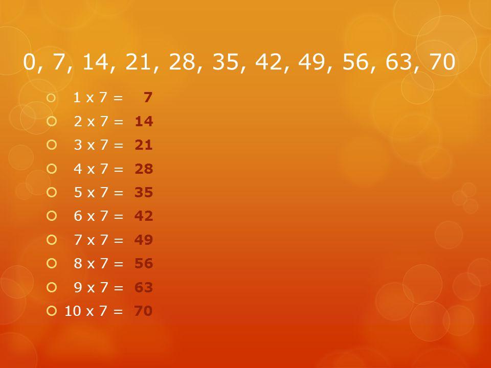 0, 7, 14, 21, 28, 35, 42, 49, 56, 63, 70  1 x 7 = 7  2 x 7 = 14  3 x 7 = 21  4 x 7 = 28  5 x 7 = 35  6 x 7 = 42  7 x 7 = 49  8 x 7 = 56  9 x