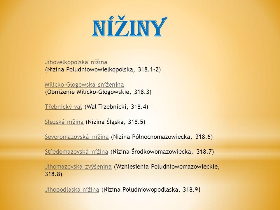 Jihovelkopolská nížina (Nizina Południowowielkopolska, 318.1-2) Milicko-Głogowská sníženina (Obniżenie Milicko-Głogowskie, 318.3) Třebnický valTřebnický val (Wał Trzebnicki, 318.4) Slezská nížinaSlezská nížina (Nizina Śląska, 318.5) Severomazovská nížinaSeveromazovská nížina (Nizina Północnomazowiecka, 318.6) Středomazovská nížinaStředomazovská nížina (Nizina Środkowomazowiecka, 318.7) Jihomazovská zvýšeninaJihomazovská zvýšenina (Wzniesienia Południowomazowieckie, 318.8) Jihopodlaská nížinaJihopodlaská nížina (Nizina Południowopodlaska, 318.9 ) NÍ Ž INY