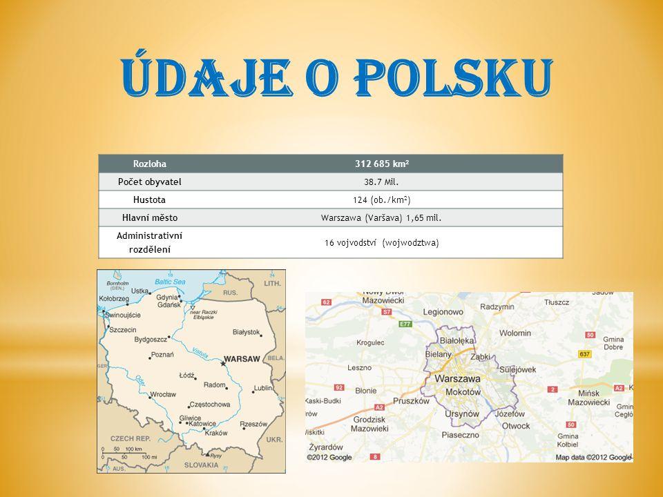 ÚDAJE O POLSKU Rozloha312 685 km 2 Počet obyvatel38.7 Mil.