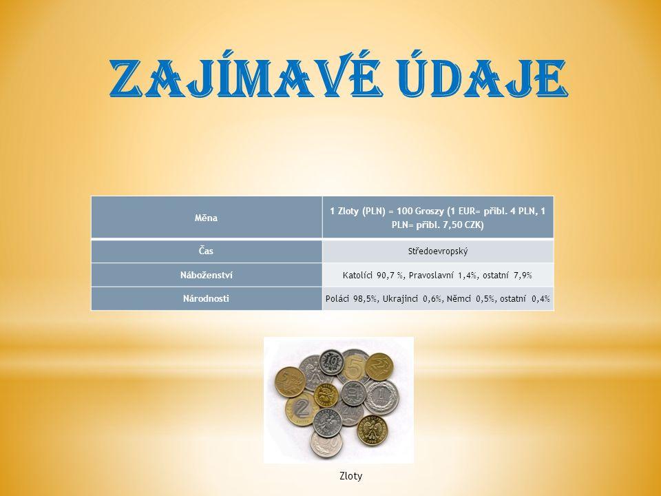 Měna 1 Zloty (PLN) = 100 Groszy (1 EUR= přibl.4 PLN, 1 PLN= přibl.