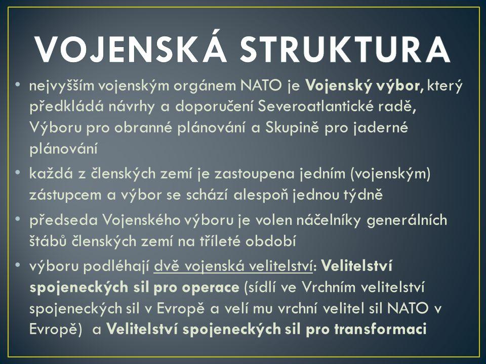 nejvyšším vojenským orgánem NATO je Vojenský výbor, který předkládá návrhy a doporučení Severoatlantické radě, Výboru pro obranné plánování a Skupině