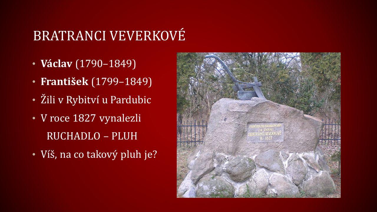 BRATRANCI VEVERKOVÉ Václav (1790–1849) František (1799–1849) Žili v Rybitví u Pardubic V roce 1827 vynalezli RUCHADLO – PLUH Víš, na co takový pluh je
