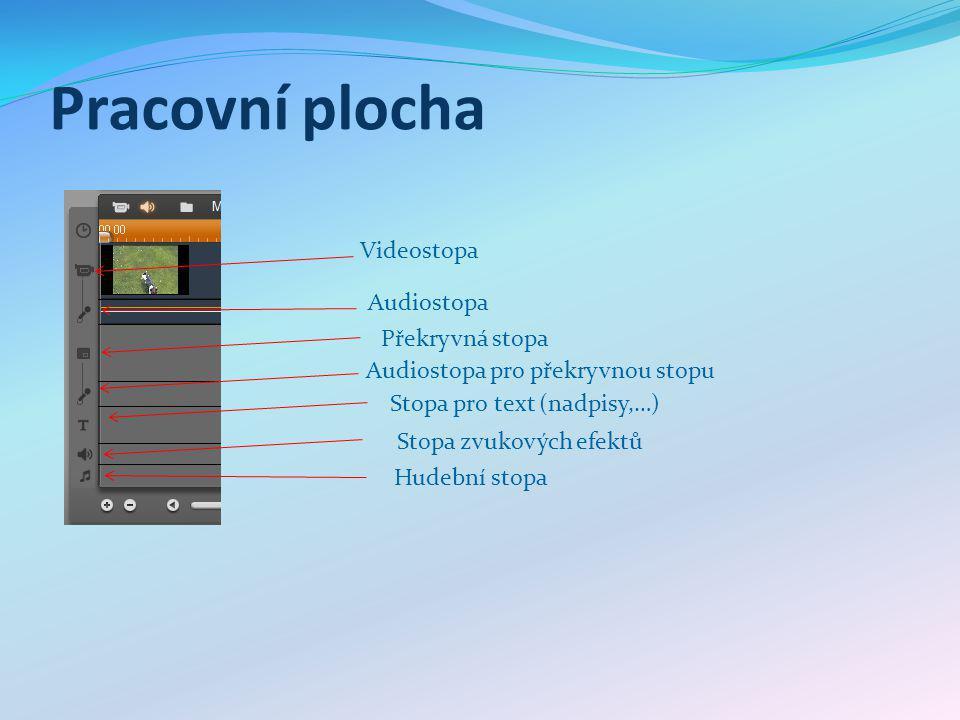 Pracovní plocha Videostopa Překryvná stopa Audiostopa pro překryvnou stopu Stopa pro text (nadpisy,…) Stopa zvukových efektů Hudební stopa Audiostopa