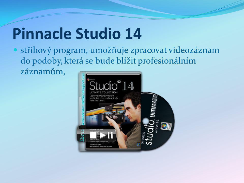 Pinnacle Studio 14 střihový program, umožňuje zpracovat videozáznam do podoby, která se bude blížit profesionálním záznamům,