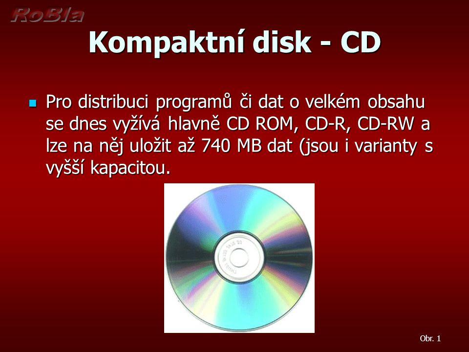 Kompaktní disk - CD Pro distribuci programů či dat o velkém obsahu se dnes vyžívá hlavně CD ROM, CD-R, CD-RW a lze na něj uložit až 740 MB dat (jsou i varianty s vyšší kapacitou.