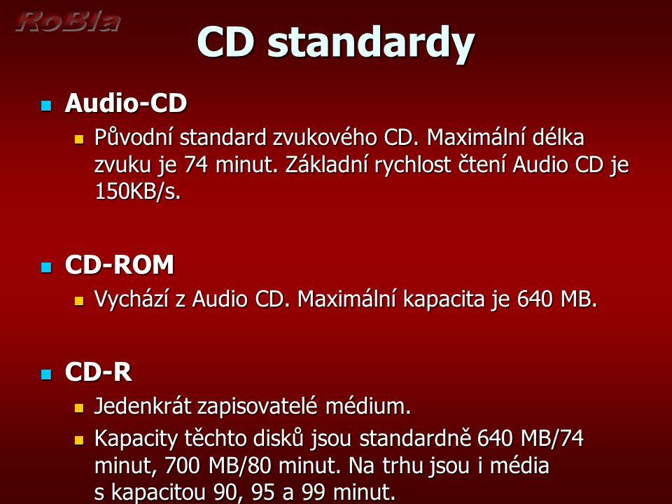 CD standardy Audio-CD Audio-CD Původní standard zvukového CD.