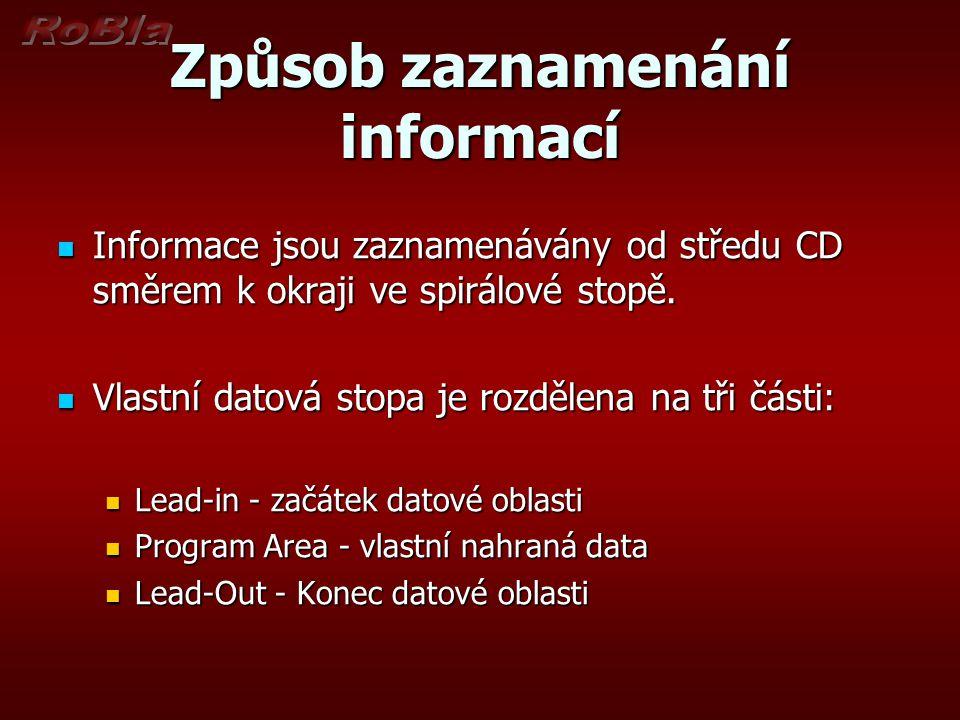 Způsob zaznamenání informací Informace jsou zaznamenávány od středu CD směrem k okraji ve spirálové stopě.