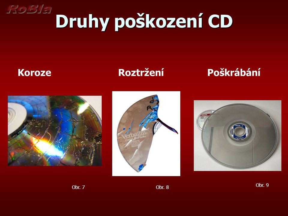 Druhy poškození CD Koroze Roztržení Poškrábání Obr. 9 Obr. 8Obr. 7