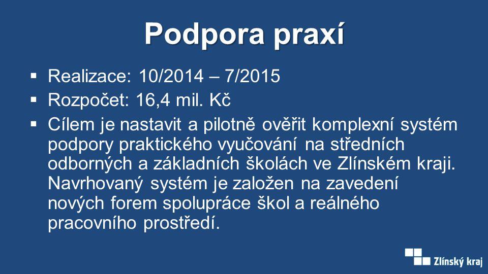 Podpora praxí  Realizace: 10/2014 – 7/2015  Rozpočet: 16,4 mil.