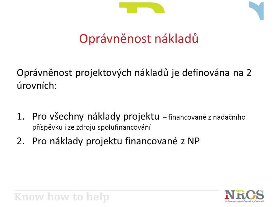 Oprávněnost nákladů Oprávněnost projektových nákladů je definována na 2 úrovních: 1.Pro všechny náklady projektu – financované z nadačního příspěvku i ze zdrojů spolufinancování 2.Pro náklady projektu financované z NP