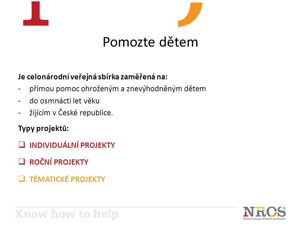 Pomozte dětem Je celonárodní veřejná sbírka zaměřená na: -přímou pomoc ohroženým a znevýhodněným dětem -do osmnácti let věku -žijícím v České republice.