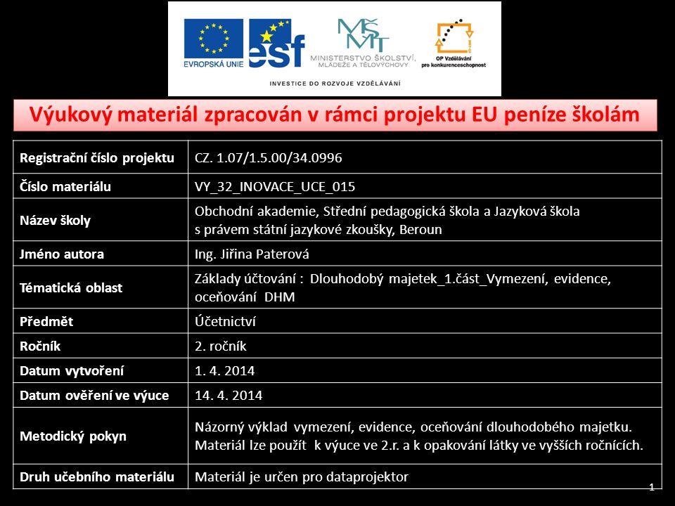 Výukový materiál zpracován v rámci projektu EU peníze školám 1 Registrační číslo projektuCZ.