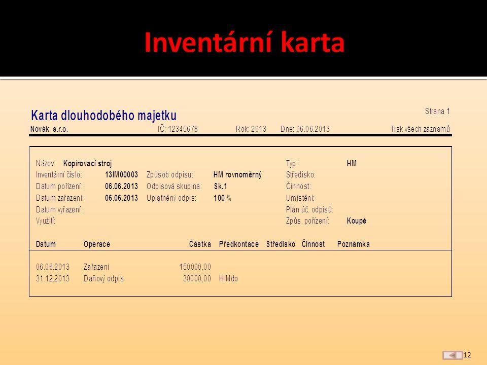 a) název, inventární číslo b) ocenění c) datum a způsob pořízení d) odpisová skupina, způsob odepisování, odpisová sazba resp.