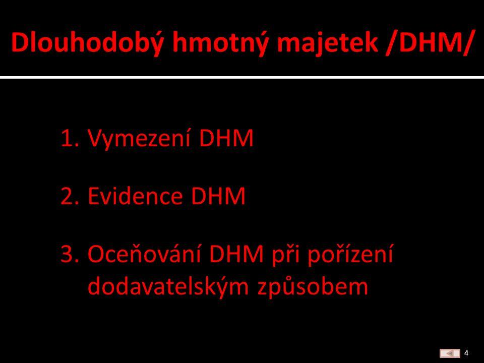 Dále je výklad zaměřen jen na DLOUHODOBÝ HMOTNÝ MAJETEK /DHM/ 3