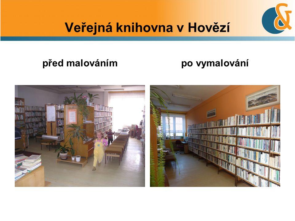 Veřejná knihovna v Hovězí před malovánímpo vymalování