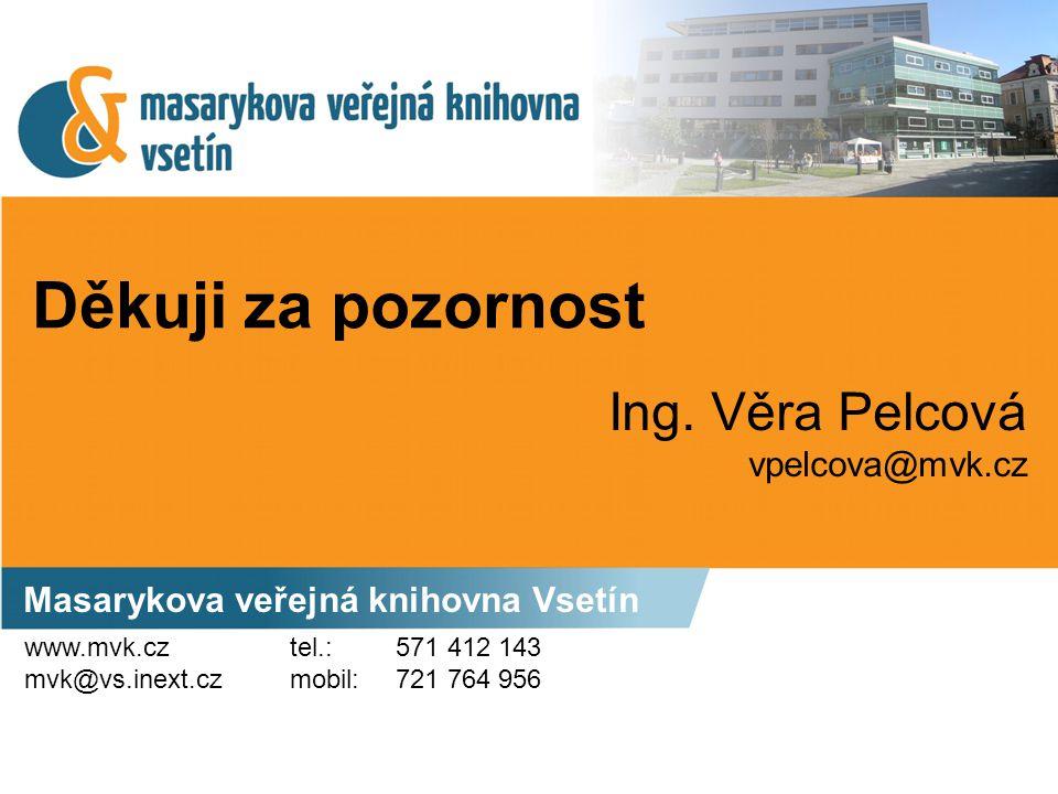 Děkuji za pozornost Masarykova veřejná knihovna Vsetín Ing. Věra Pelcová vpelcova@mvk.cz www.mvk.cz mvk@vs.inext.cz tel.: 571 412 143 mobil: 721 764 9
