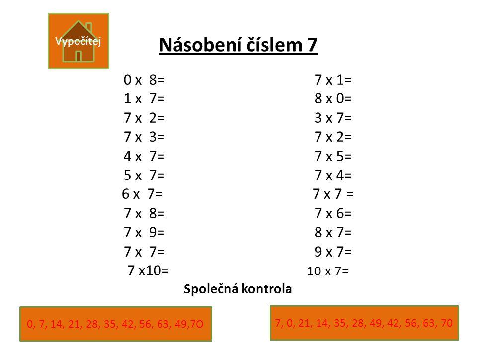 Násobení číslem 7 0 x 8=7 x 1= 1 x 7=8 x 0= 7 x 2=3 x 7= 7 x 3=7 x 2= 4 x 7=7 x 5= 5 x 7=7 x 4= 6 x 7=7 x 7 = 7 x 8=7 x 6= 7 x 9=8 x 7= 7 x 7=9 x 7= 7