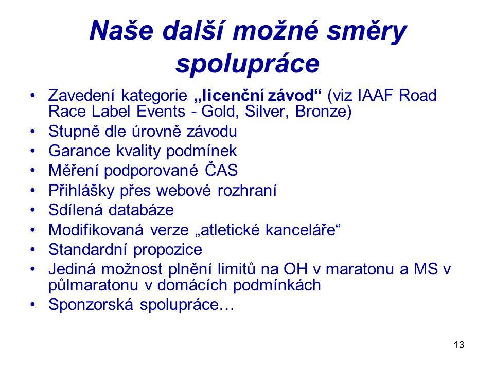 """13 Naše další možné směry spolupráce Zavedení kategorie """"licenční závod"""" (viz IAAF Road Race Label Events - Gold, Silver, Bronze) Stupně dle úrovně zá"""