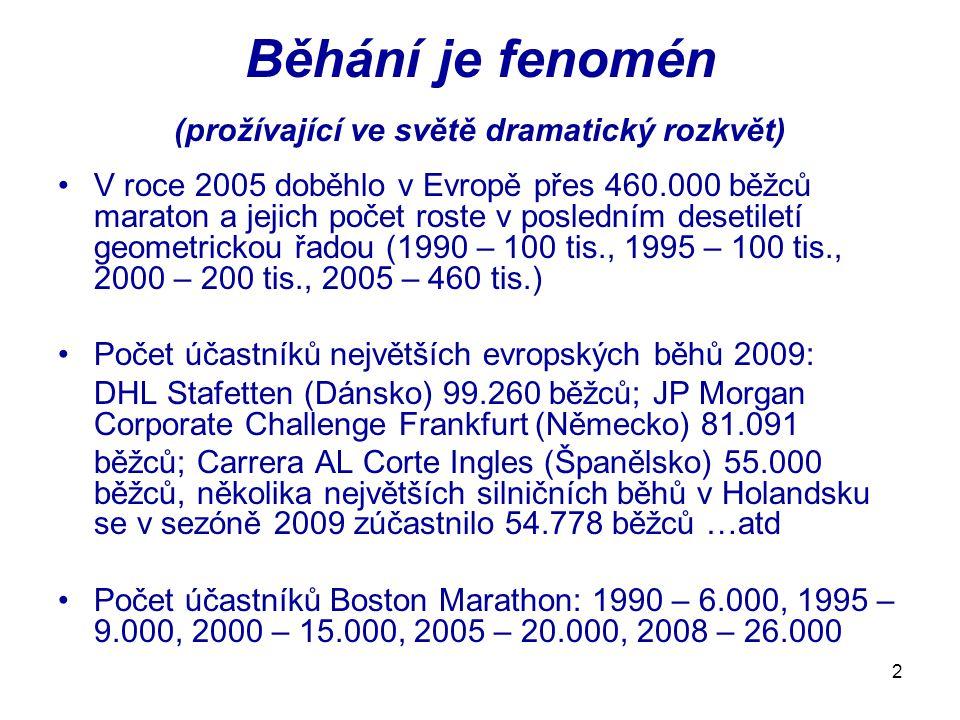 2 Běhání je fenomén (prožívající ve světě dramatický rozkvět) V roce 2005 doběhlo v Evropě přes 460.000 běžců maraton a jejich počet roste v posledním