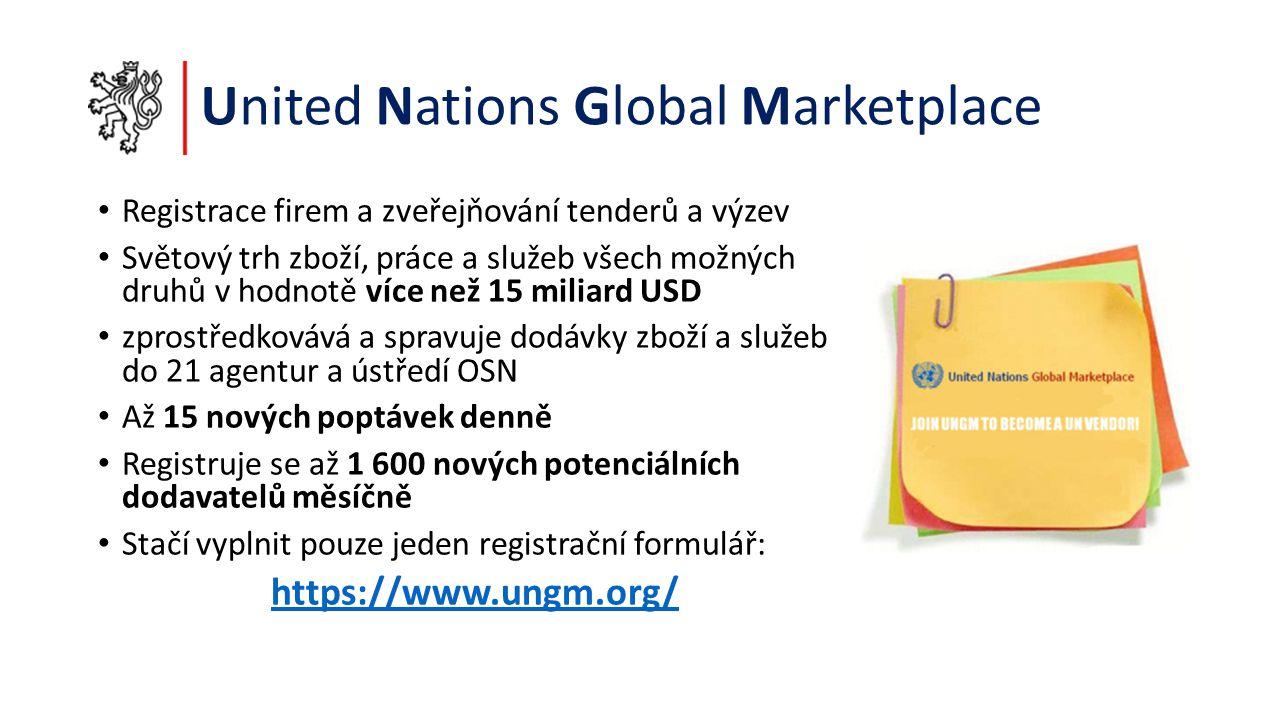 United Nations Global Marketplace Registrace firem a zveřejňování tenderů a výzev Světový trh zboží, práce a služeb všech možných druhů v hodnotě více než 15 miliard USD zprostředkovává a spravuje dodávky zboží a služeb do 21 agentur a ústředí OSN Až 15 nových poptávek denně Registruje se až 1 600 nových potenciálních dodavatelů měsíčně Stačí vyplnit pouze jeden registrační formulář: https://www.ungm.org/