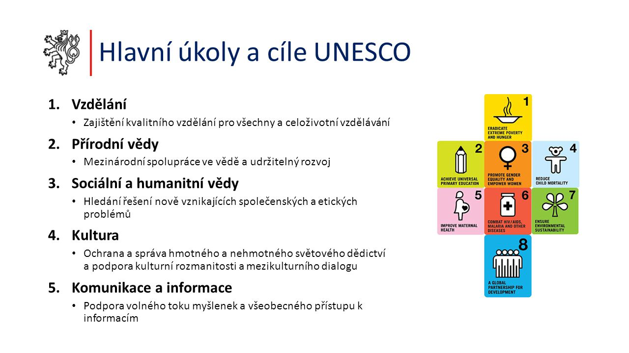 Hlavní úkoly a cíle UNESCO 1.Vzdělání Zajištění kvalitního vzdělání pro všechny a celoživotní vzdělávání 2.Přírodní vědy Mezinárodní spolupráce ve vědě a udržitelný rozvoj 3.Sociální a humanitní vědy Hledání řešení nově vznikajících společenských a etických problémů 4.Kultura Ochrana a správa hmotného a nehmotného světového dědictví a podpora kulturní rozmanitosti a mezikulturního dialogu 5.Komunikace a informace Podpora volného toku myšlenek a všeobecného přístupu k informacím