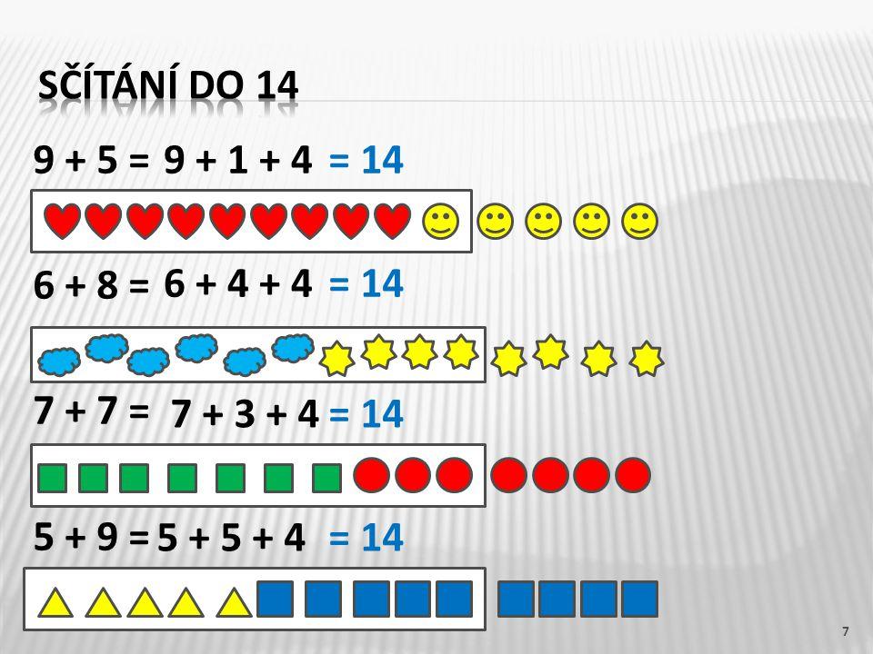 9 + 5 = 6 + 8 = 7 + 7 = 5 + 9 = 7 9 + 1 + 4 6 + 4 + 4 7 + 3 + 4 5 + 5 + 4 = 14