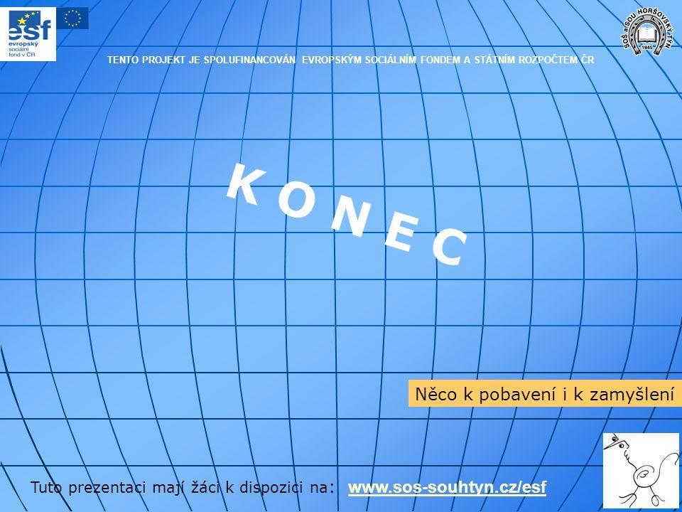 K O N E C Tuto prezentaci mají žáci k dispozici na : www.sos-souhtyn.cz/esf www.sos-souhtyn.cz/esf Něco k pobavení i k zamyšlení TENTO PROJEKT JE SPOL