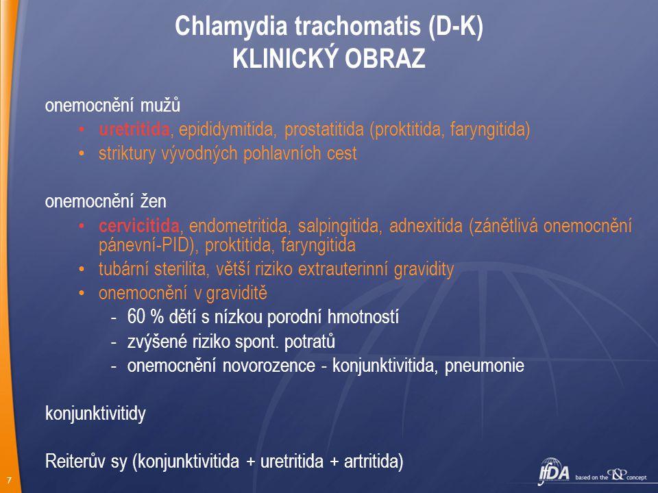 7 Chlamydia trachomatis (D-K) KLINICKÝ OBRAZ onemocnění mužů uretritida, epididymitida, prostatitida (proktitida, faryngitida) striktury vývodných pohlavních cest onemocnění žen cervicitida, endometritida, salpingitida, adnexitida (zánětlivá onemocnění pánevní-PID), proktitida, faryngitida tubární sterilita, větší riziko extrauterinní gravidity onemocnění v graviditě -60 % dětí s nízkou porodní hmotností -zvýšené riziko spont.